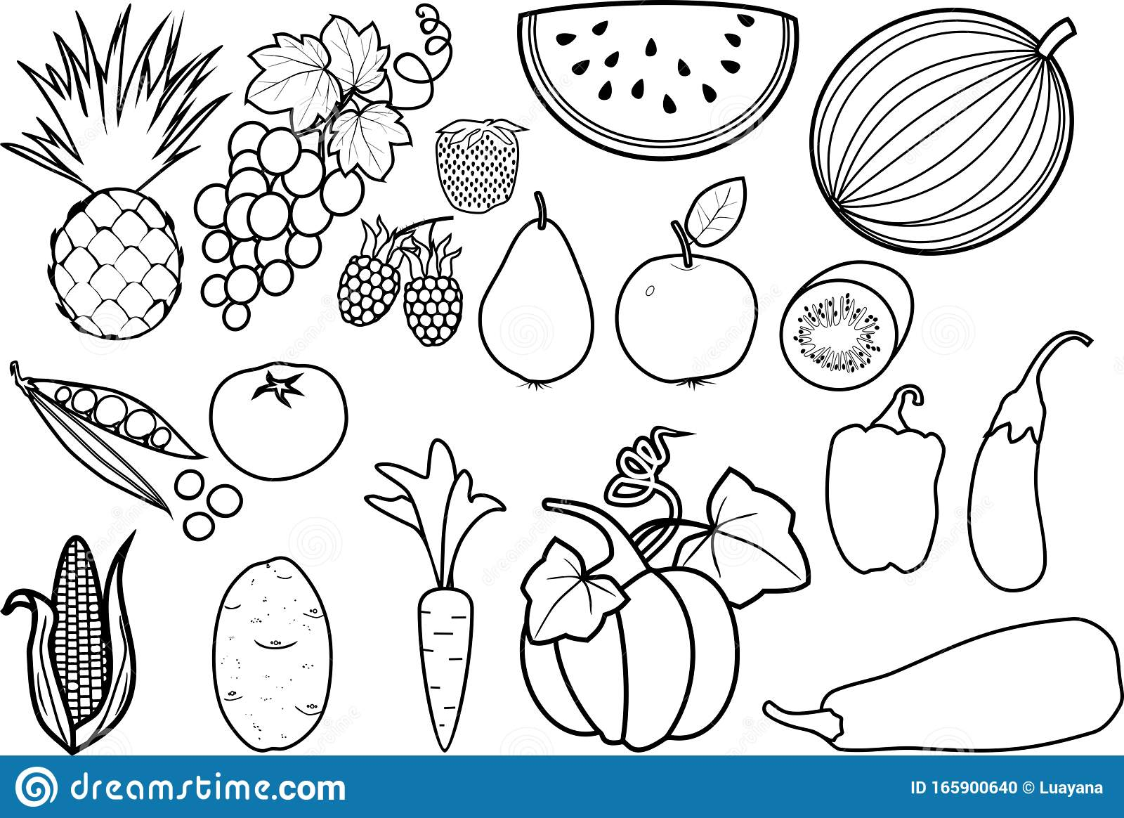 - Coloring Page. Set Of Different Fruits And Vegetables Stock Vector
