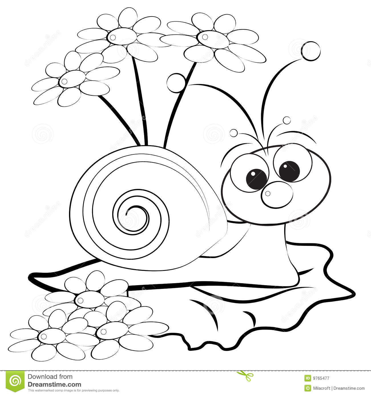 royalty free coloring pages - coloring page snail and daisy stock vector