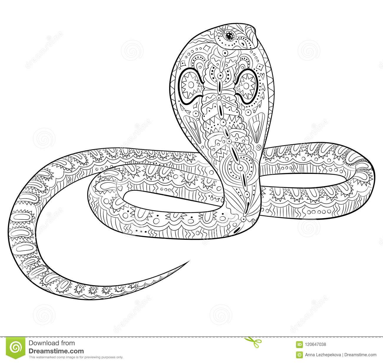 coloring page with snake in zentangle style stock vector
