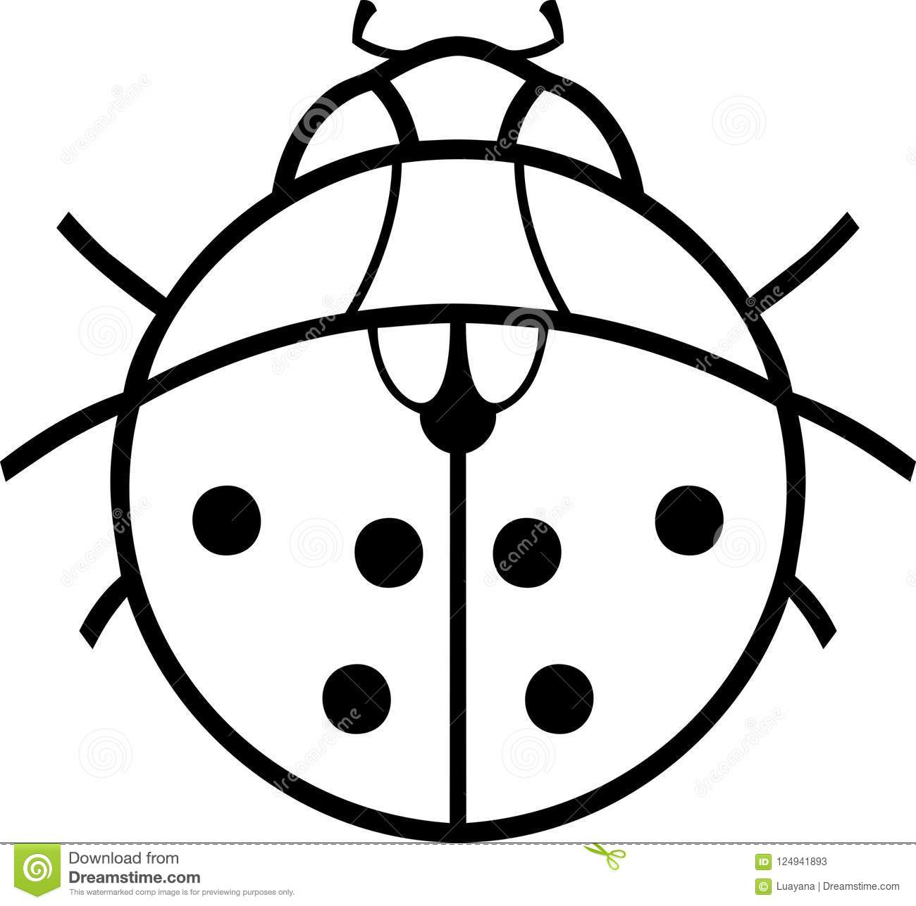 Coloring Page Stylized Cartoon Ladybird Stock Vector Illustration