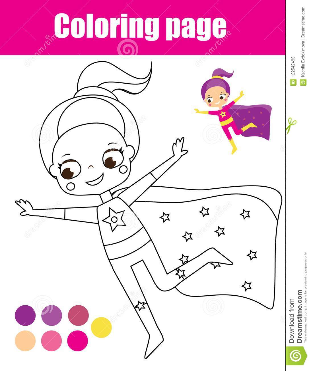 photograph relating to Printable Kid Activity called Coloring Website page With Superhero Woman. Drawing Little ones Sport