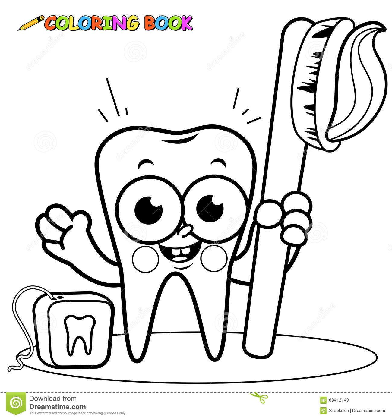 Coloring Page Tooth Cartoon Holding Toothbrush And Dental Floss
