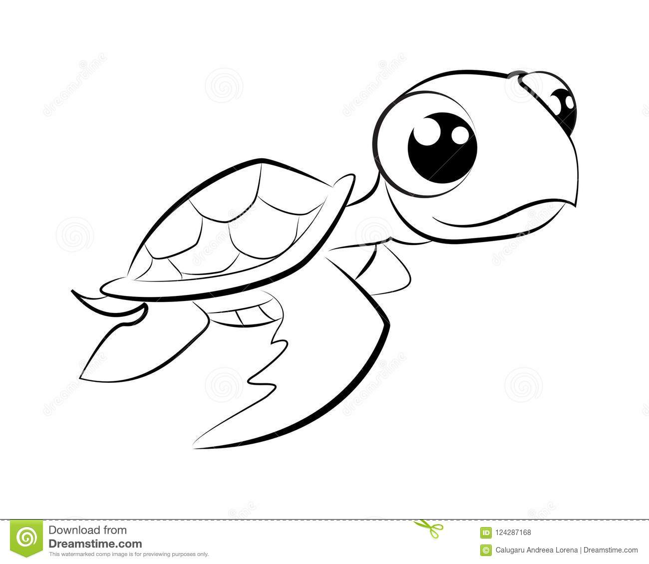 Coloring Page Turtle Illustration Stock Vector Illustration Of