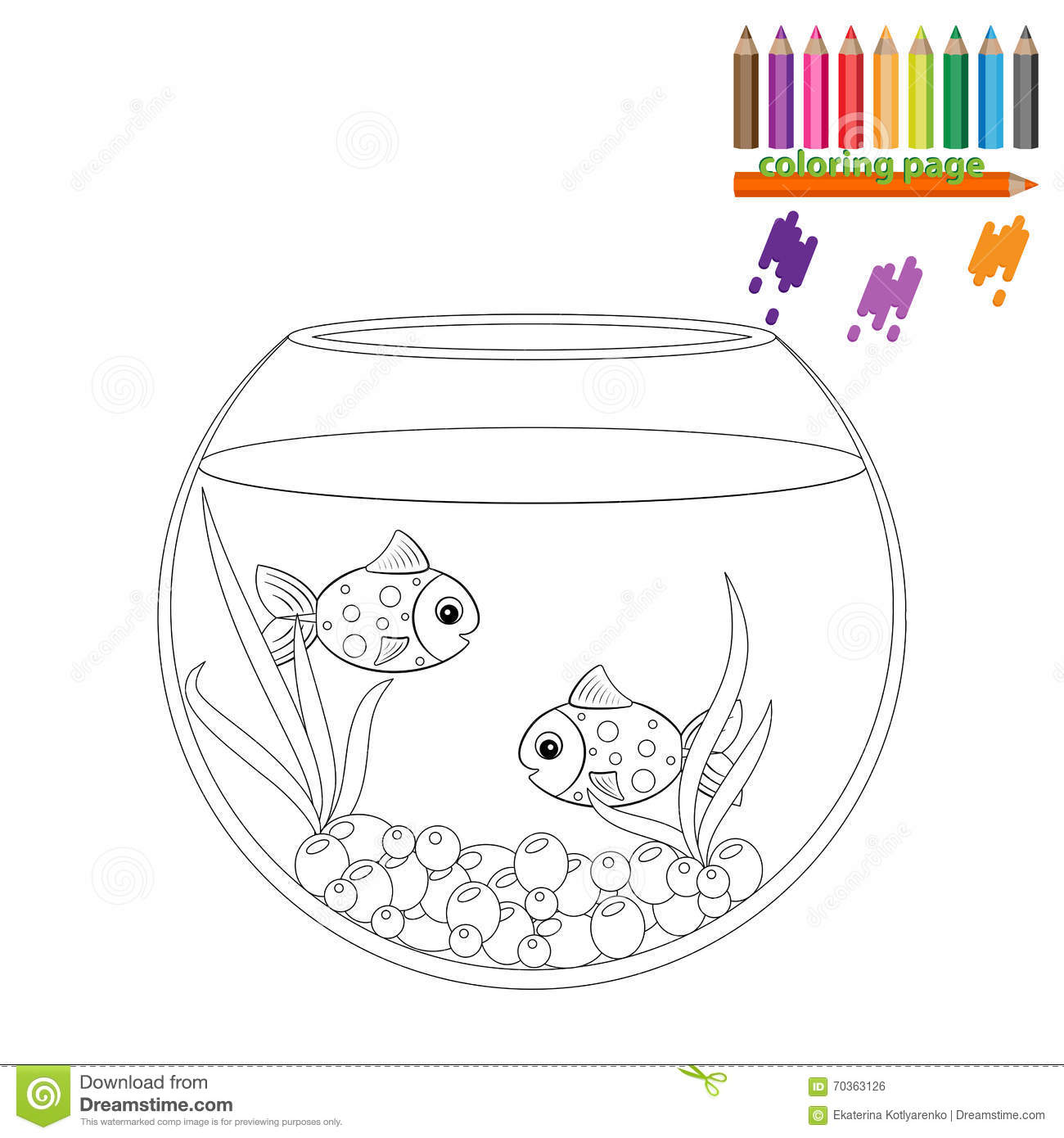 Coloring Page. Two Fishes In The Round Aquarium Stock Vector ...