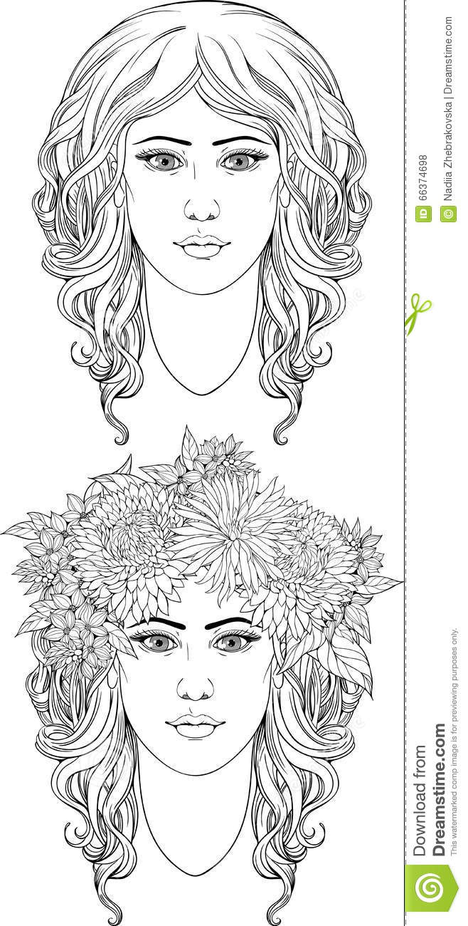 coloring page of two u0027s portraits stock vector image 66374698