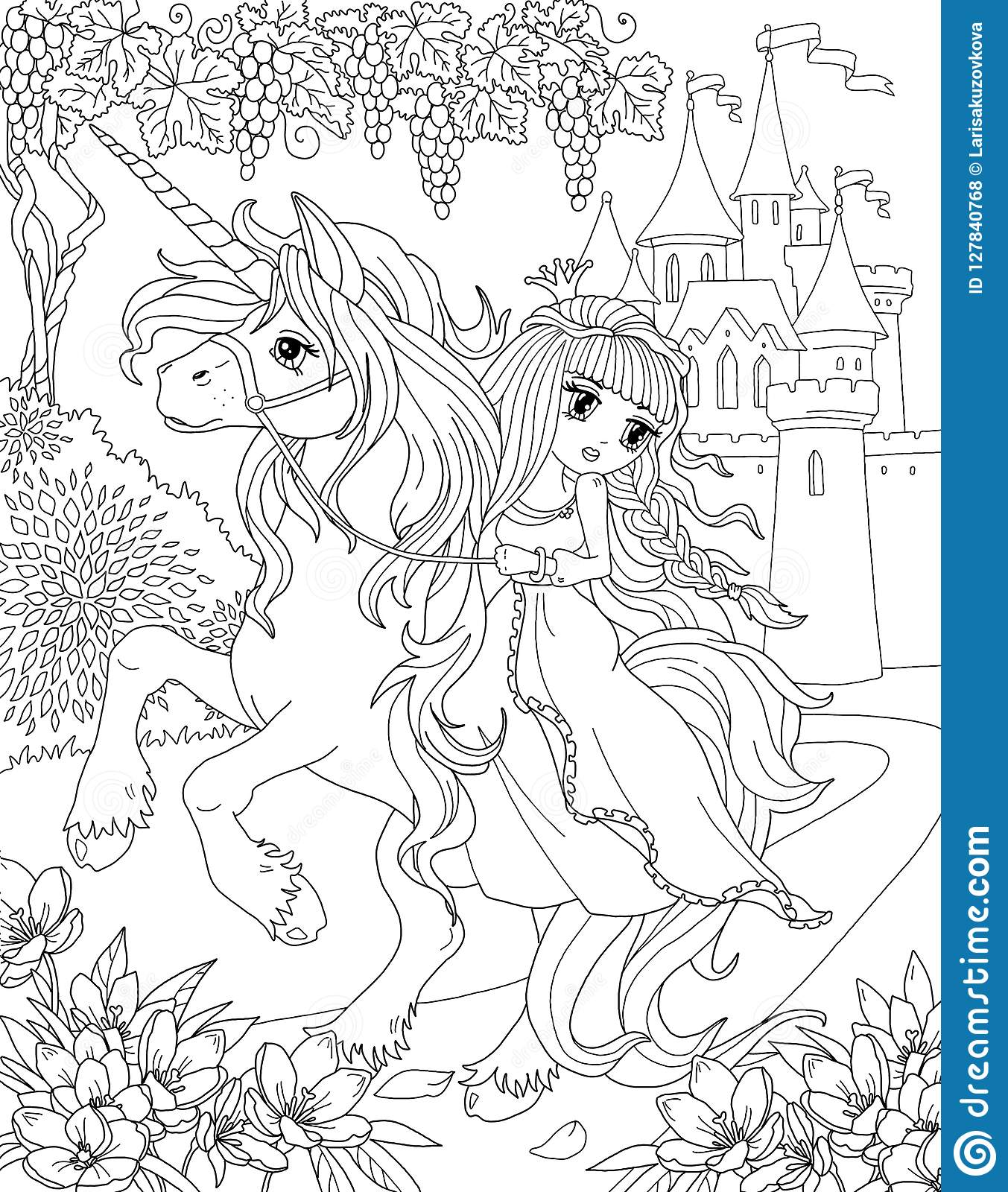 Coloring Page The Unicorn And Princess Stock Illustration Illustration Of Background Girl 127840768