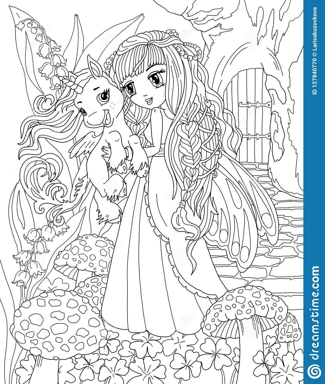 Coloring Page The Unicorn And Princess Stock Illustration ...