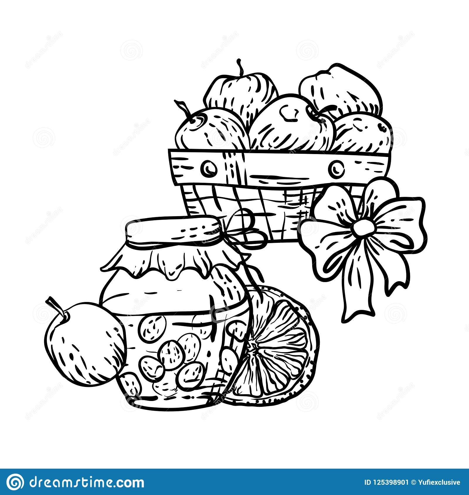 Coloring Page In Vector With Household Autumn Elements Stock ...