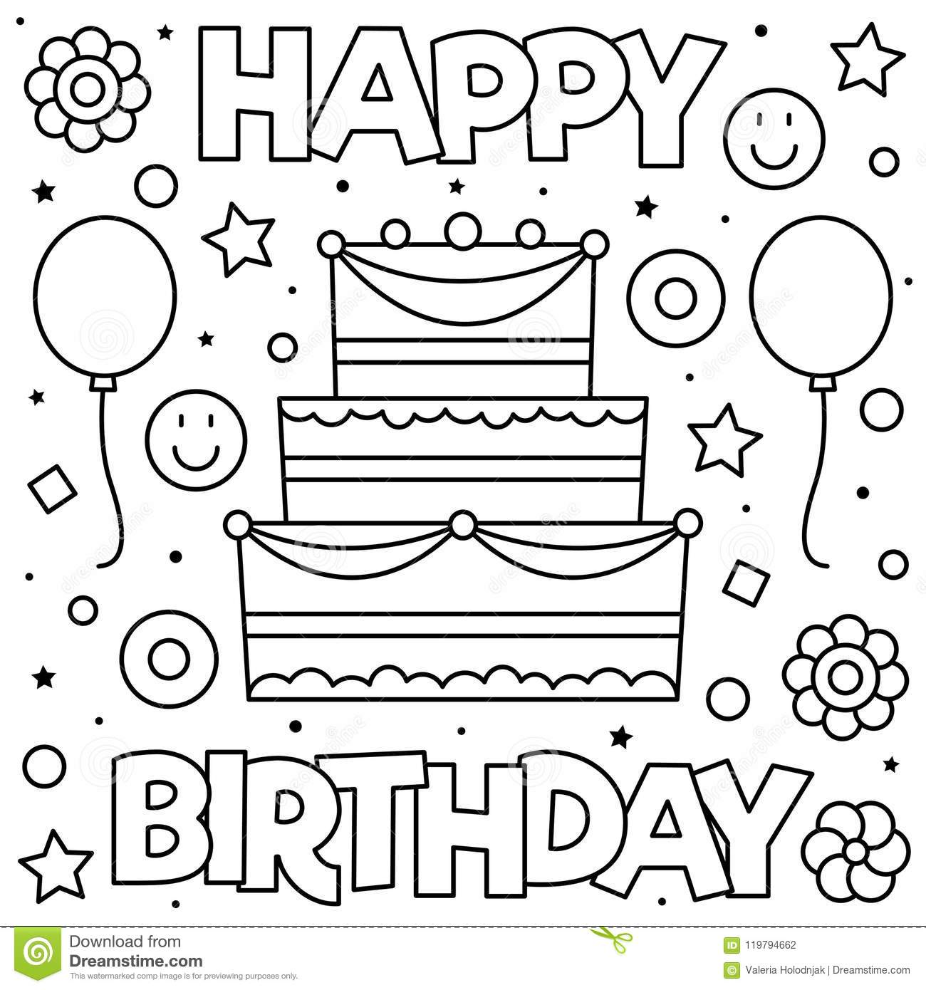 Happy birthday printable star – coloring pages for kids | coloing ... | 1390x1300