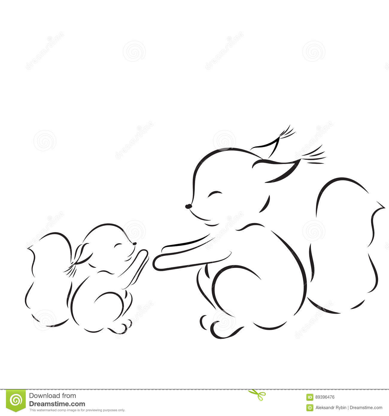 Coloring Page Vector Outline Drawing Squirrels Mom And Baby Stock