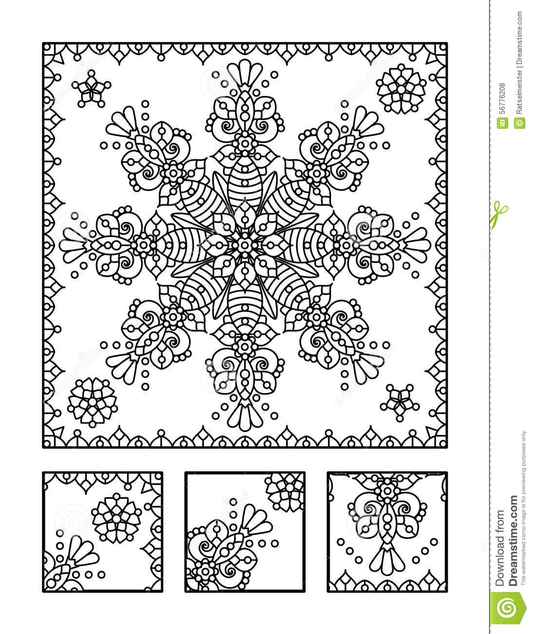 coloring page and visual puzzle for adults stock vector image