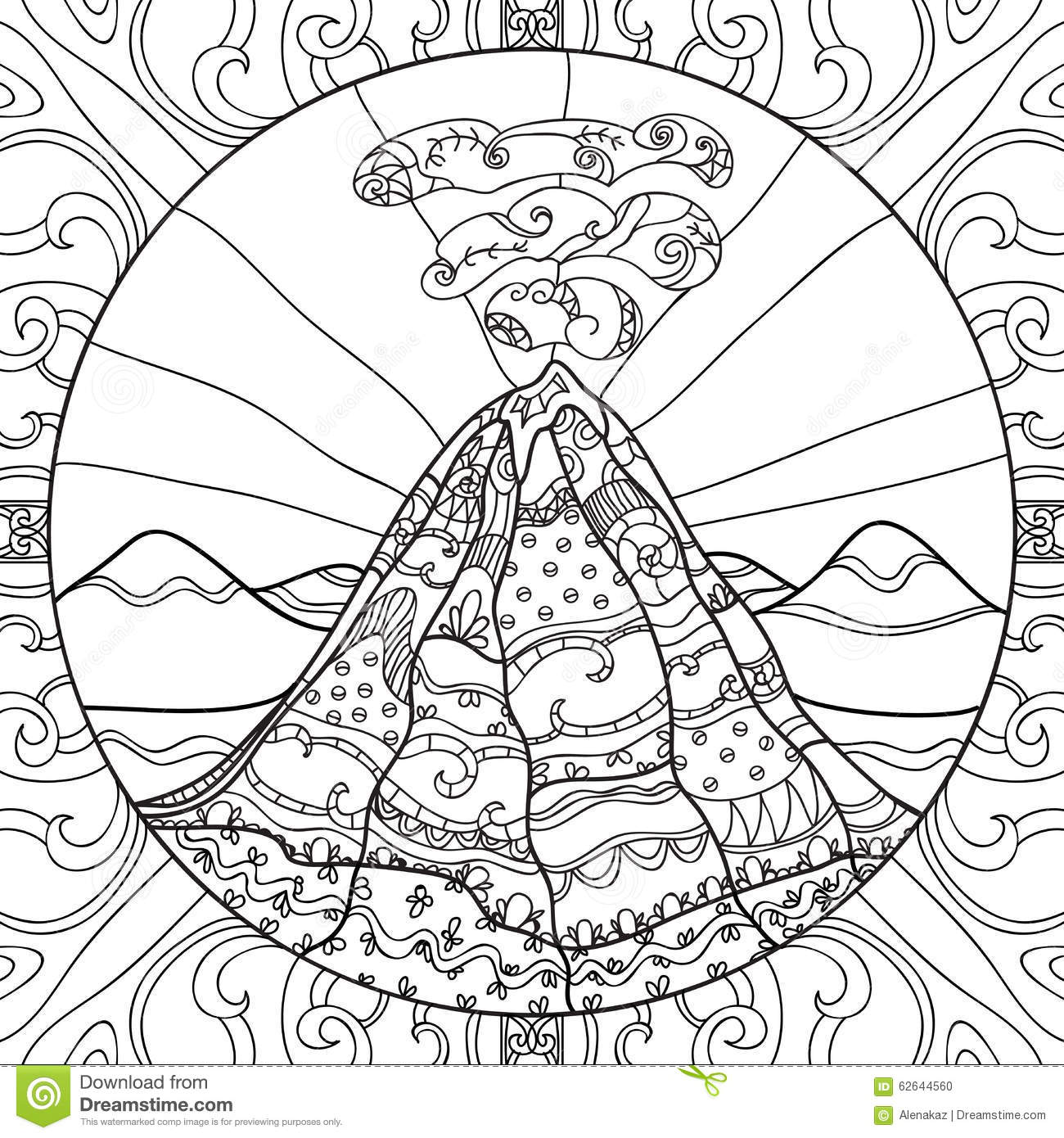Coloring page with volcano stock vector image 62644560 - Volcan coloriage ...