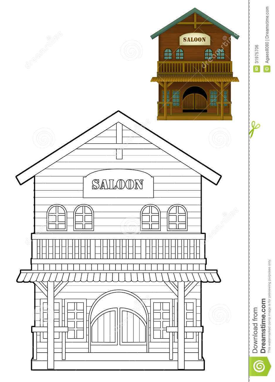 The Coloring Page Wild West Western Illustration For