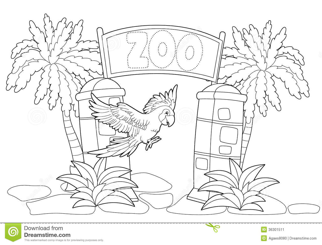Stock Image Coloring Page Zoo Illustration Children Beautiful Image36301511 on Pages For Preschoolers Zoo Animals Worksheet