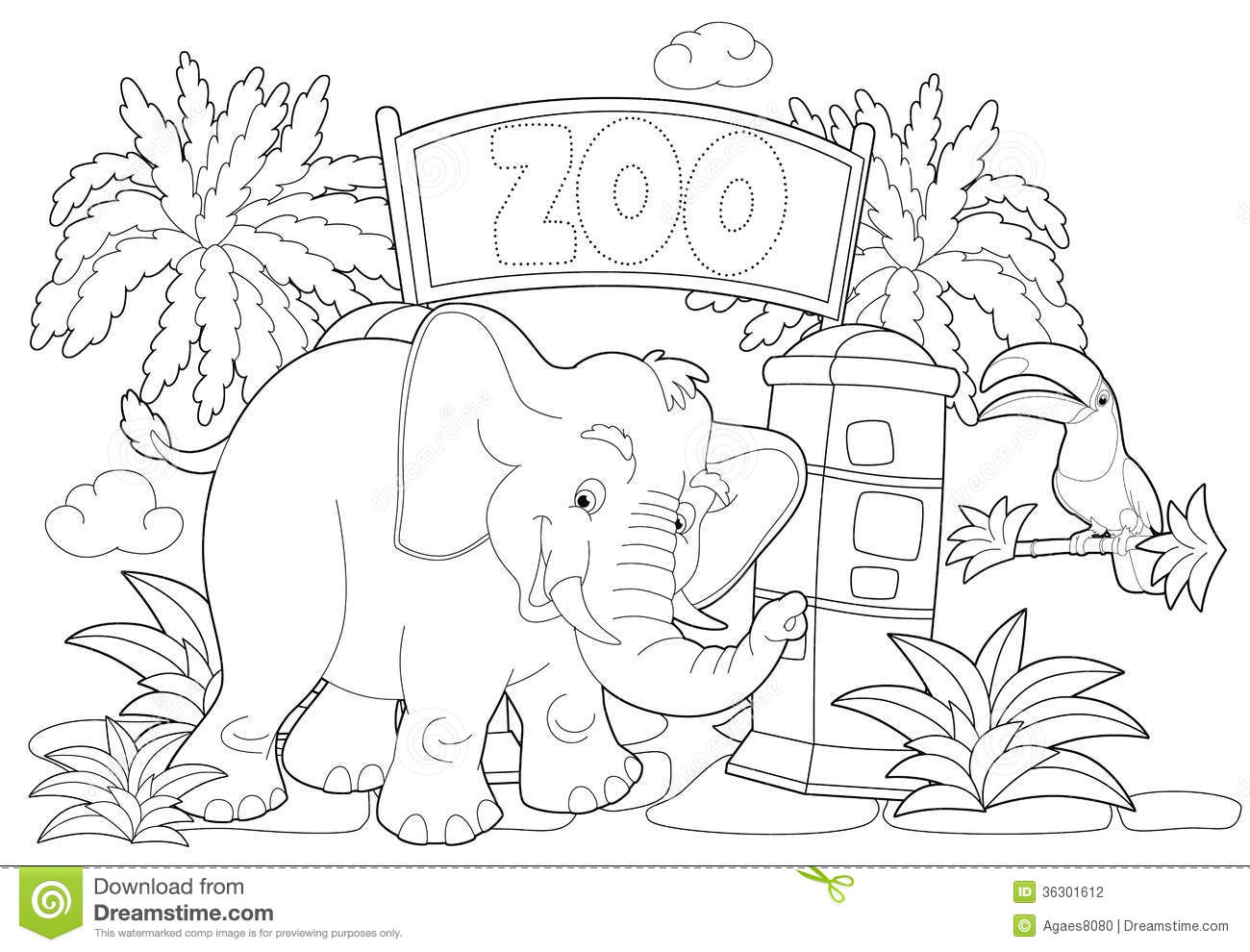 Coloring Page The Zoo Illustration For The Children Stock