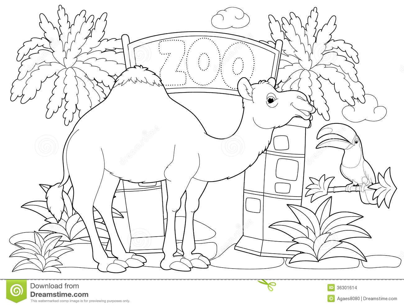 Toddler zoo coloring pages - Coloring Page The Zoo Illustration For The Children