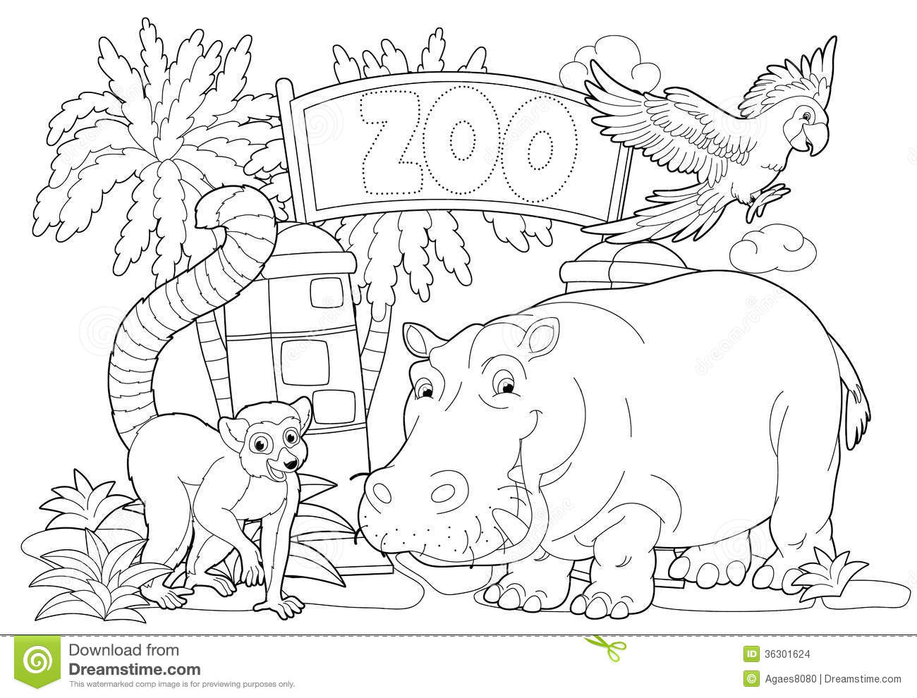 Free coloring pages zoo - Royalty Free Stock Photo Download Coloring Page The Zoo