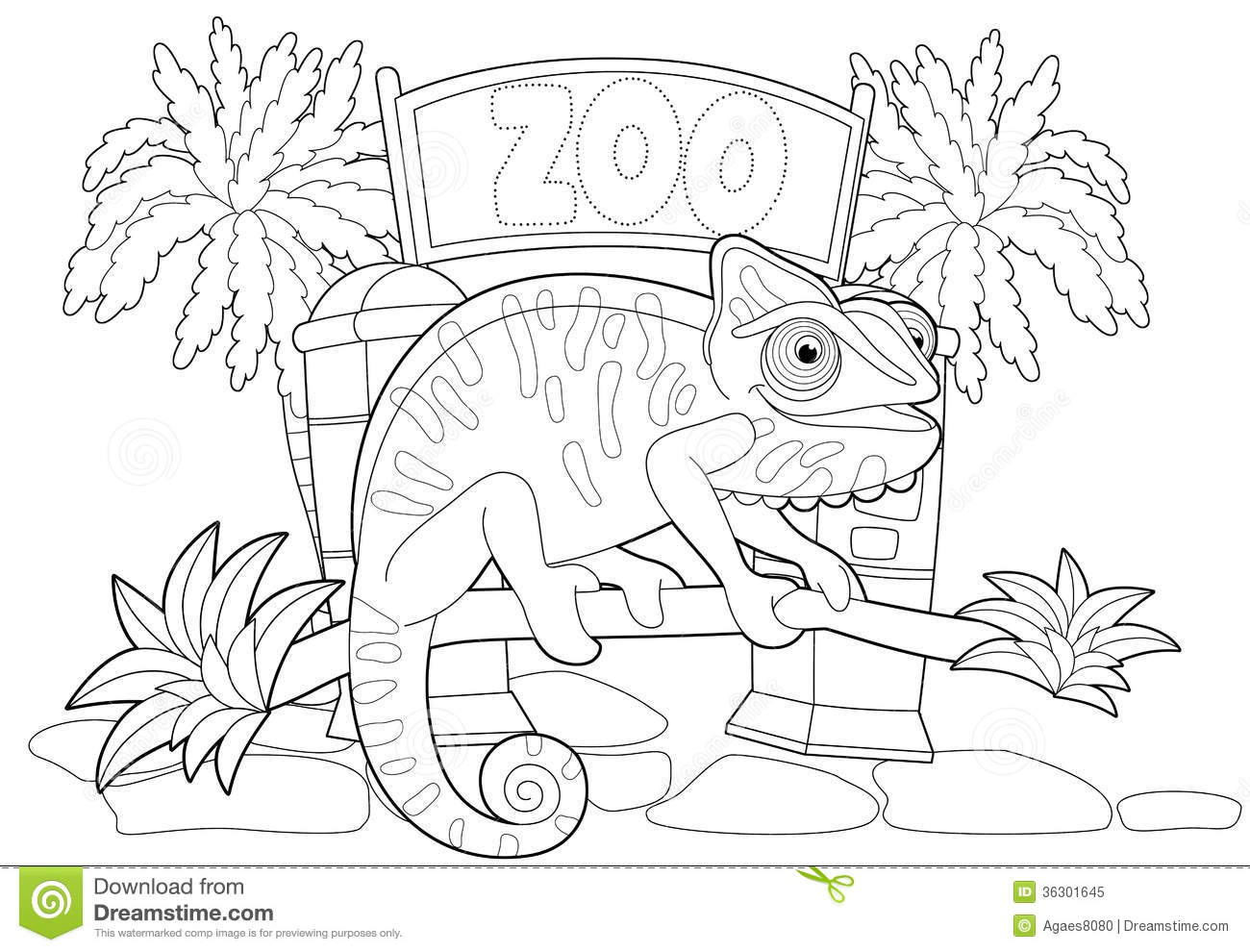 coloring page the zoo illustration for the children