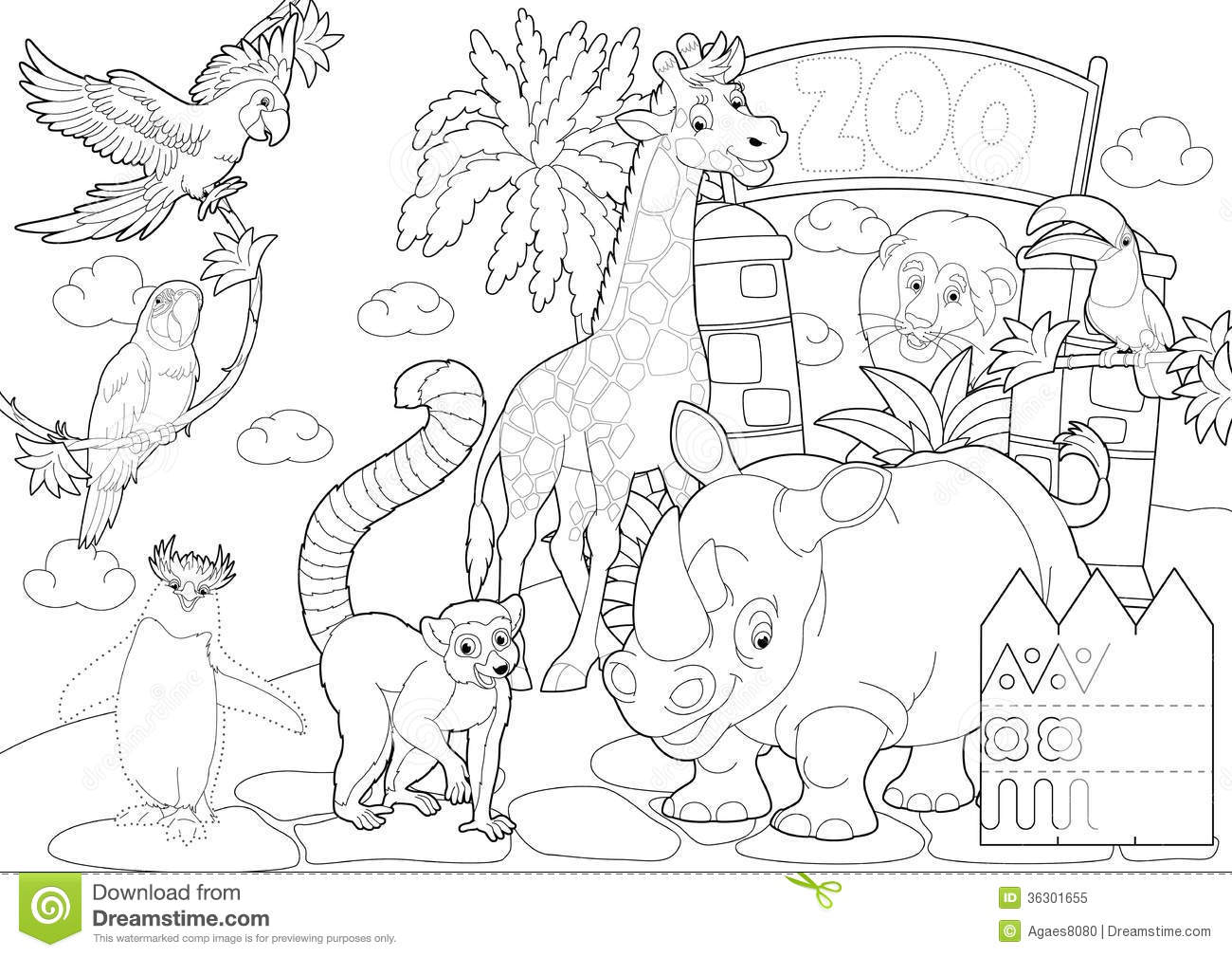 Coloring Page - The Zoo - Illustration For The Children Royalty ...