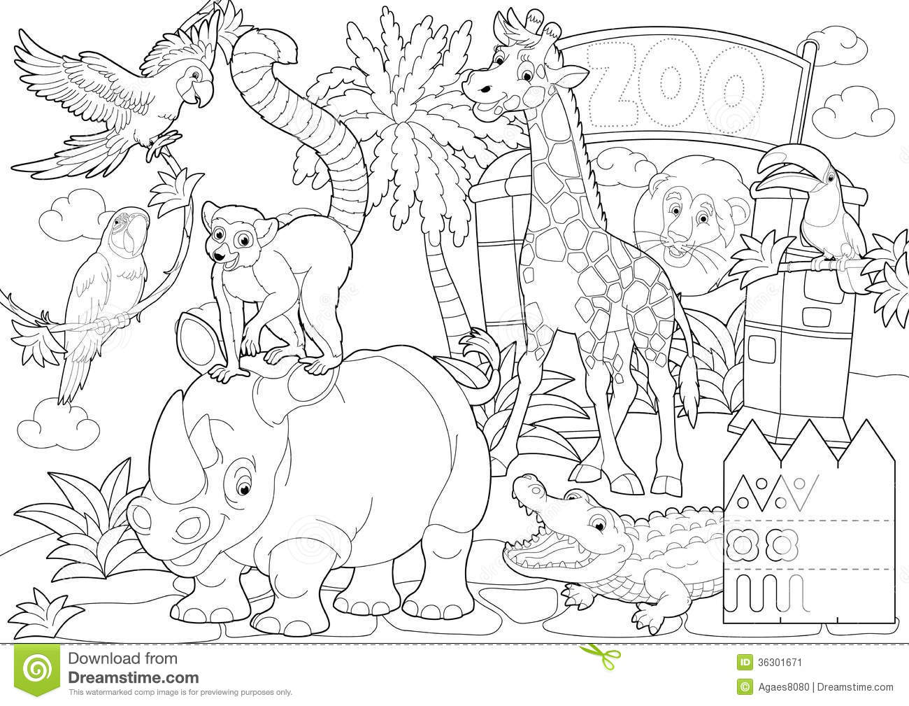 Coloring Page - The Zoo - Illustration For The Children Stock Illustration - Illustration of ...