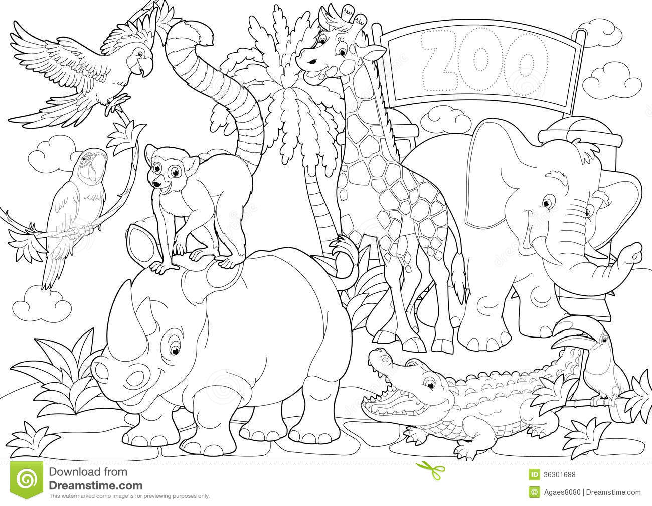 Coloring Page   The Zoo   Illustration For The Children. Contur, Clip.