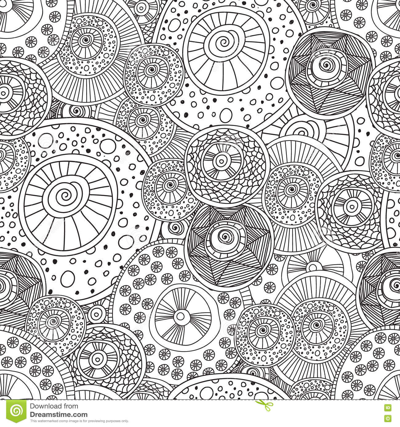 Coloring Pages For Adults Book.Seamless Black And White
