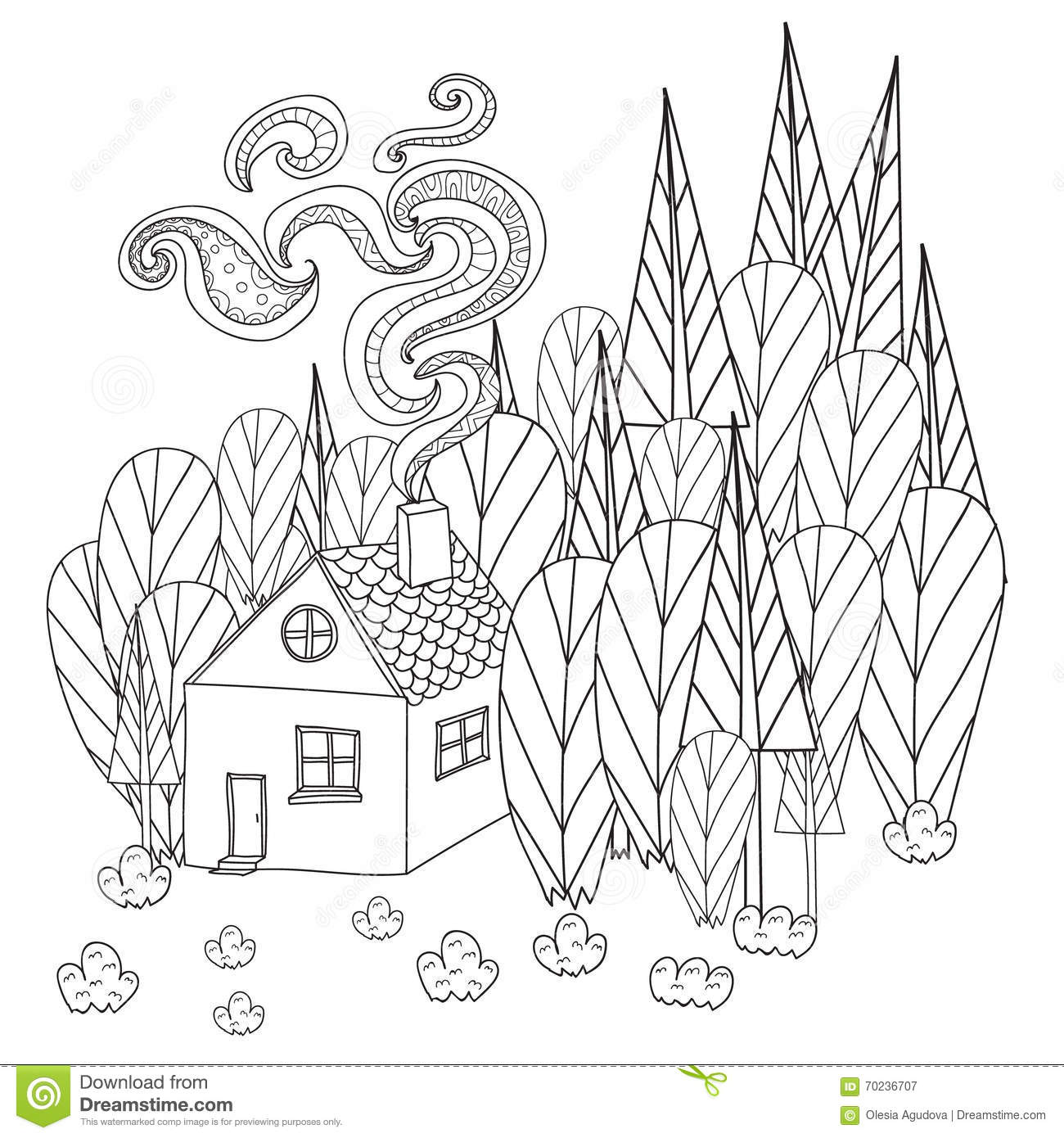 Coloring pages for adults and children book cartoon house in the forest