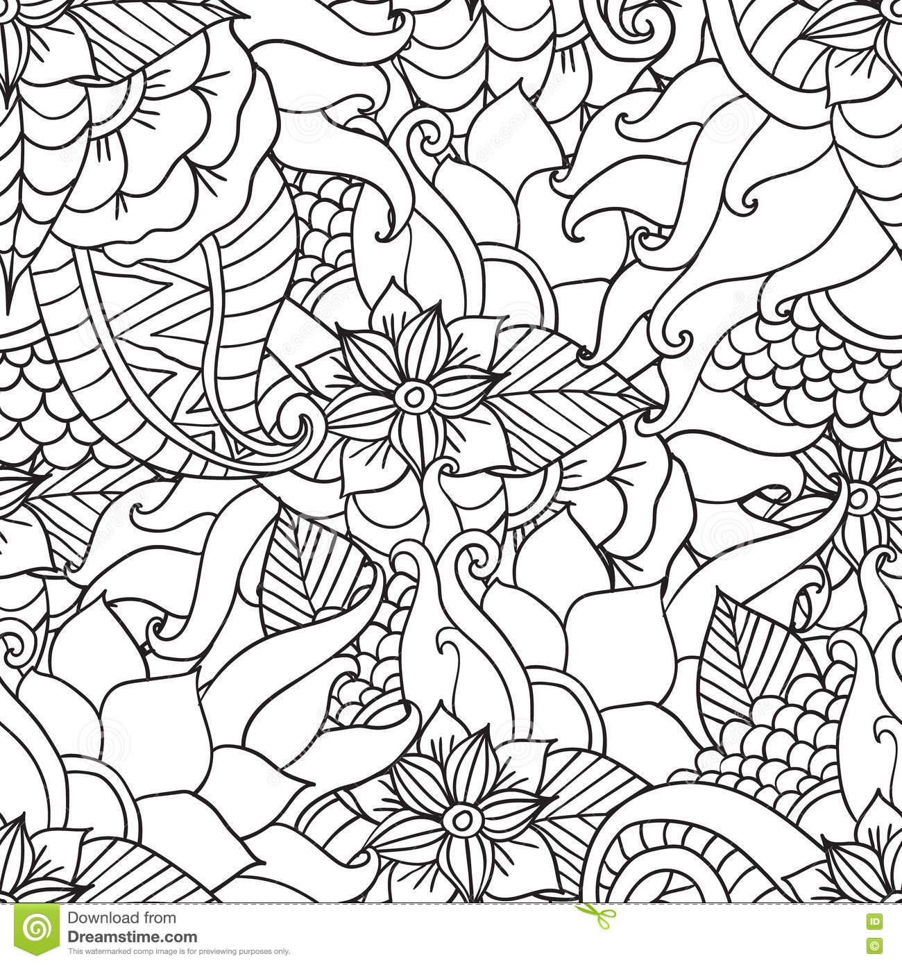 Coloring Pages T shirt Or Prints Vector Spring Illustrationseamless
