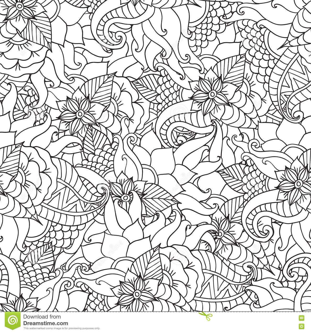 black and white coloring pages for adults Coloring Pages For Adults.Decorative Hand Drawn Doodle Nature  black and white coloring pages for adults
