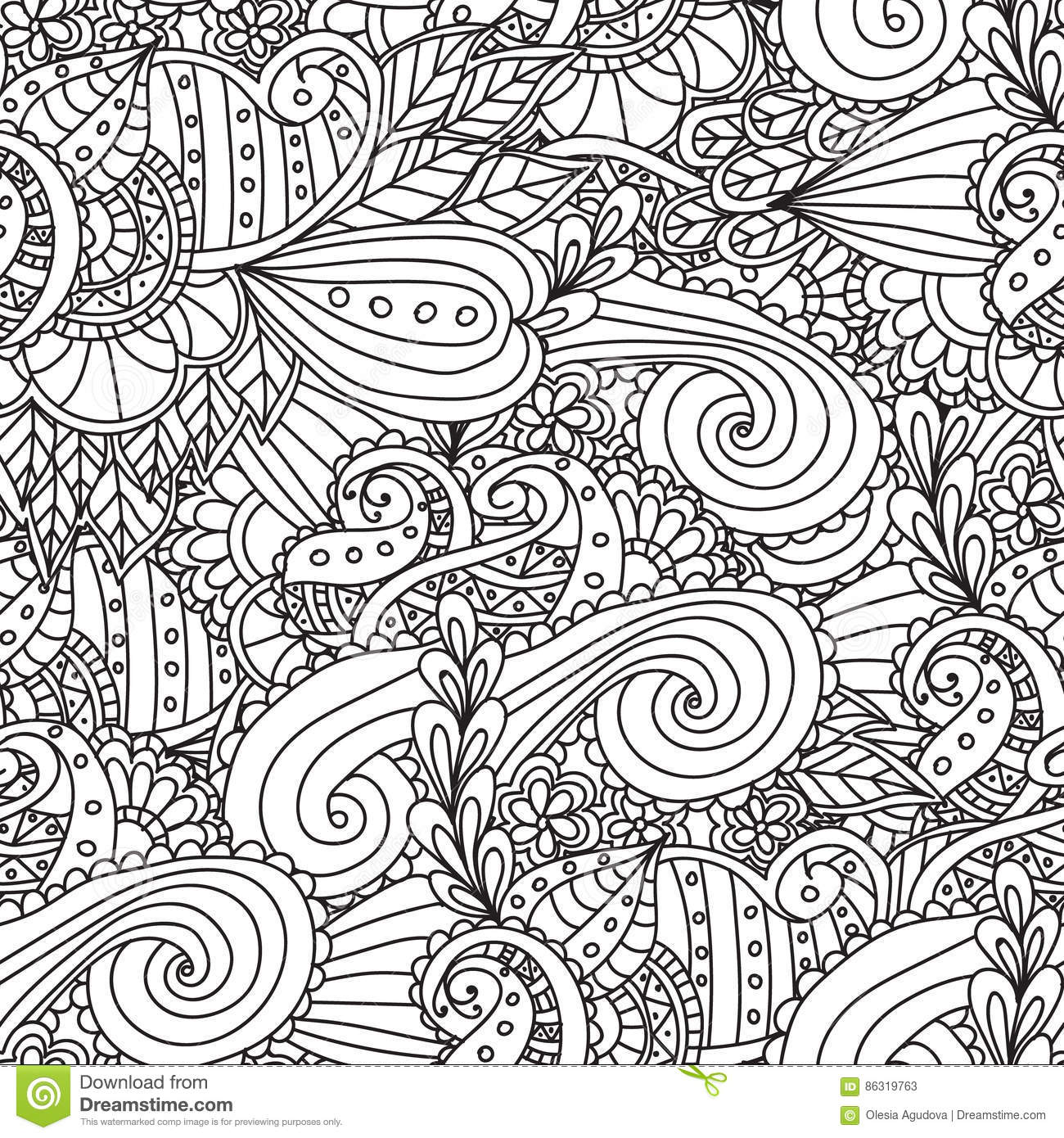 Coloring Pages For AdultsDecorative Hand Drawn Doodle