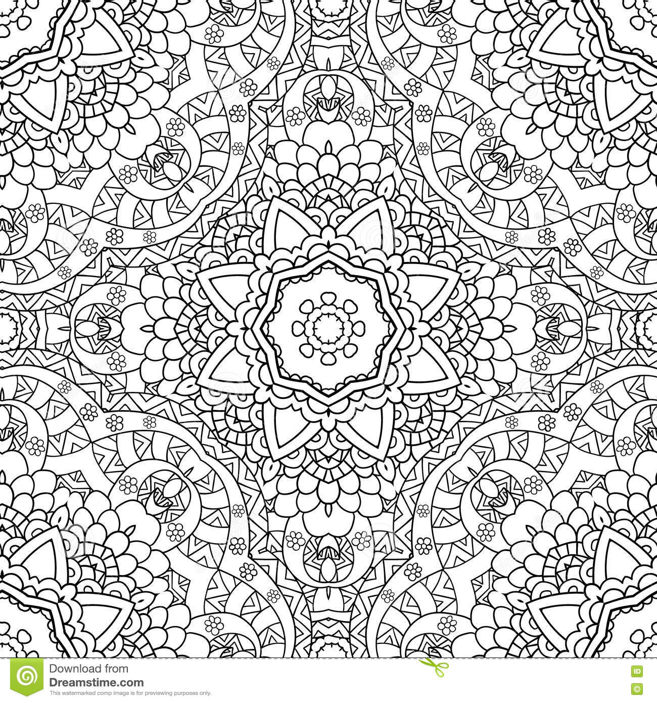 Coloring pages nature - Coloring Pages For Adults Decorative Hand Drawn Doodle Nature Ornamental Curl Vector Sketchy Seamless Pattern