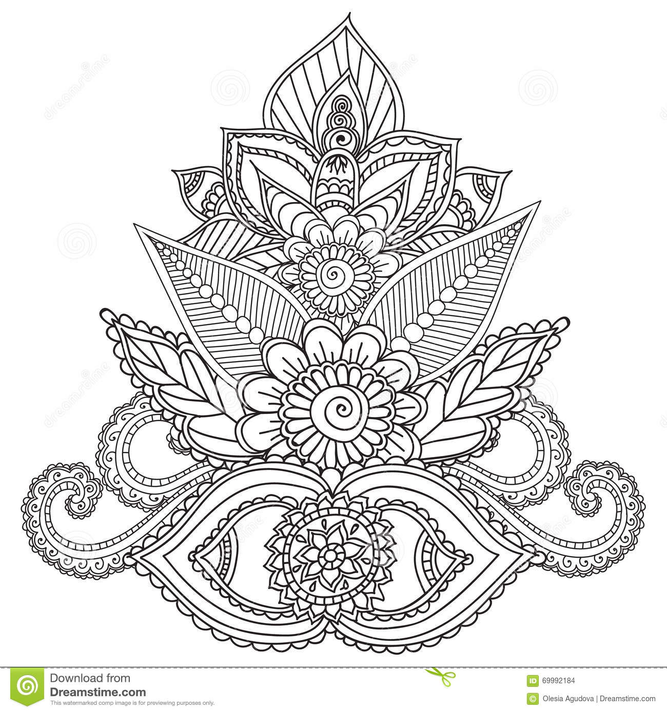 Coloring pages for adults henna mehndi doodles abstract for Henna coloring pages