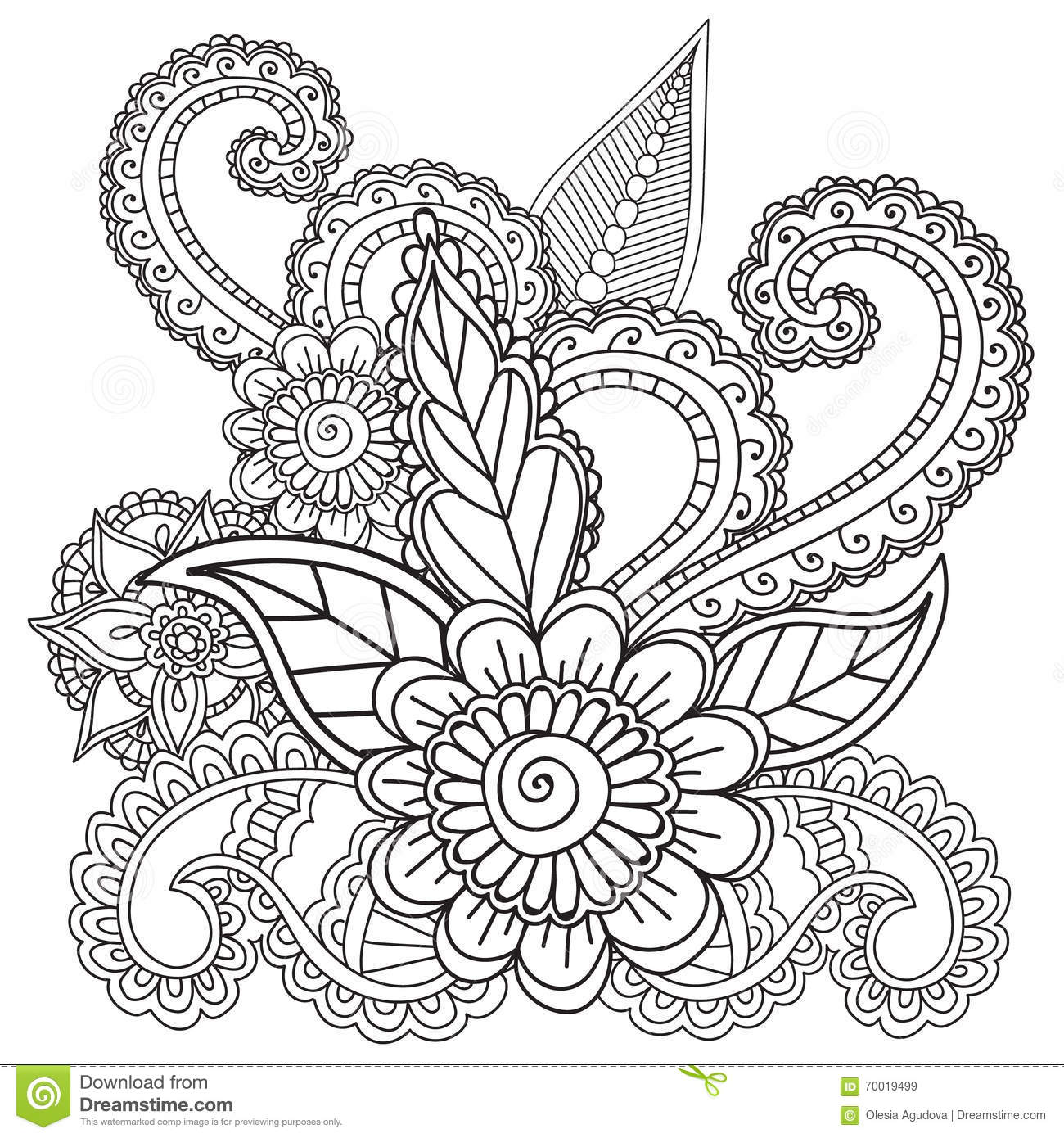 Coloring Pages For Adults. Henna Mehndi Doodles Abstract Floral ...