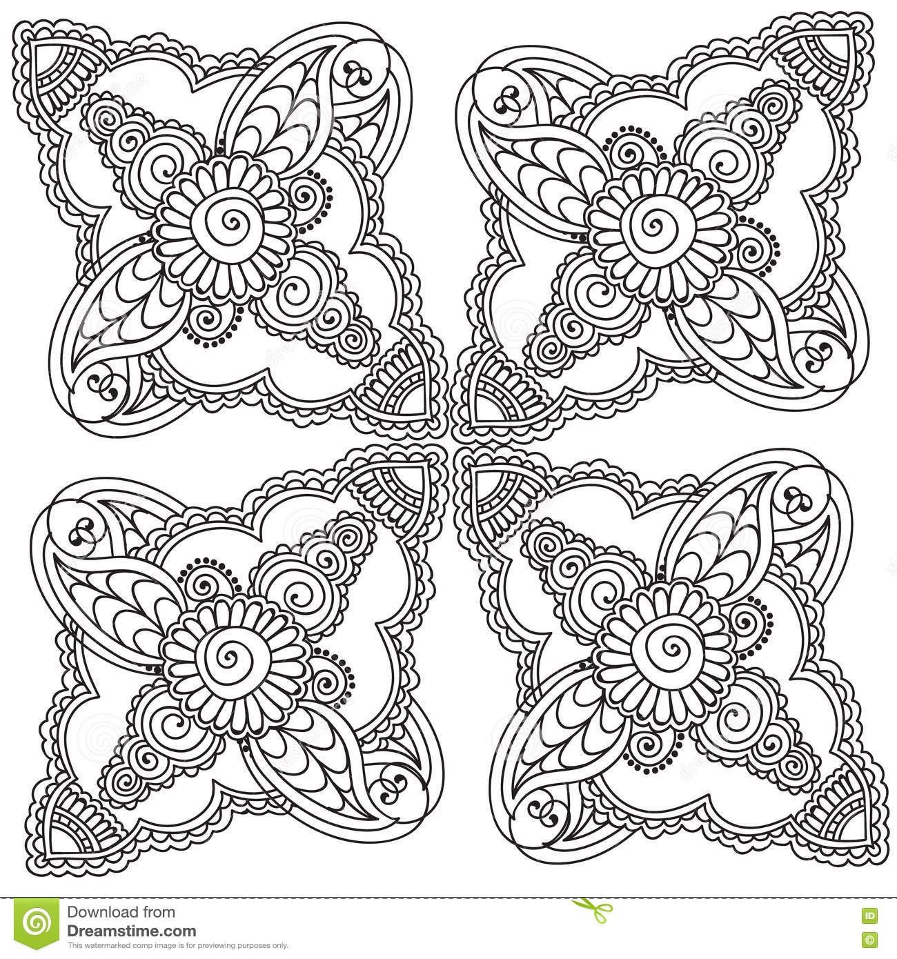 Coloring pages for adults abstract flowers - Coloring Pages For Adults Henna Mehndi Doodles Abstract Floral Elements