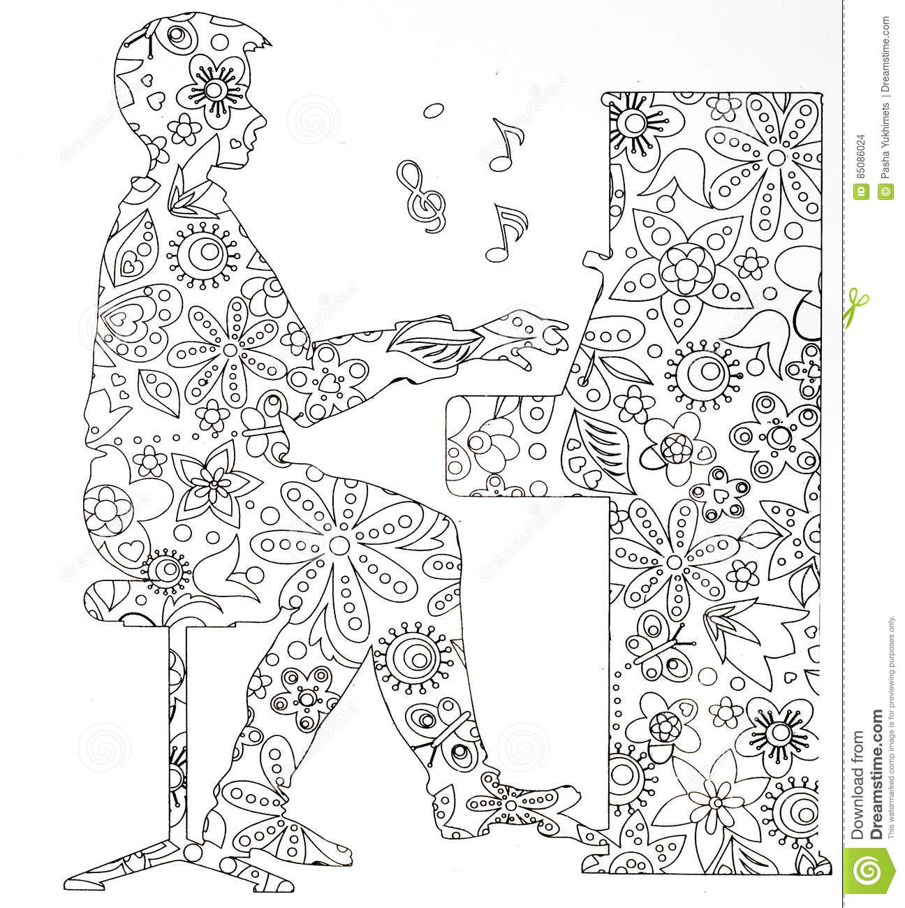 coloring pages for adults musical instruments stock illustration