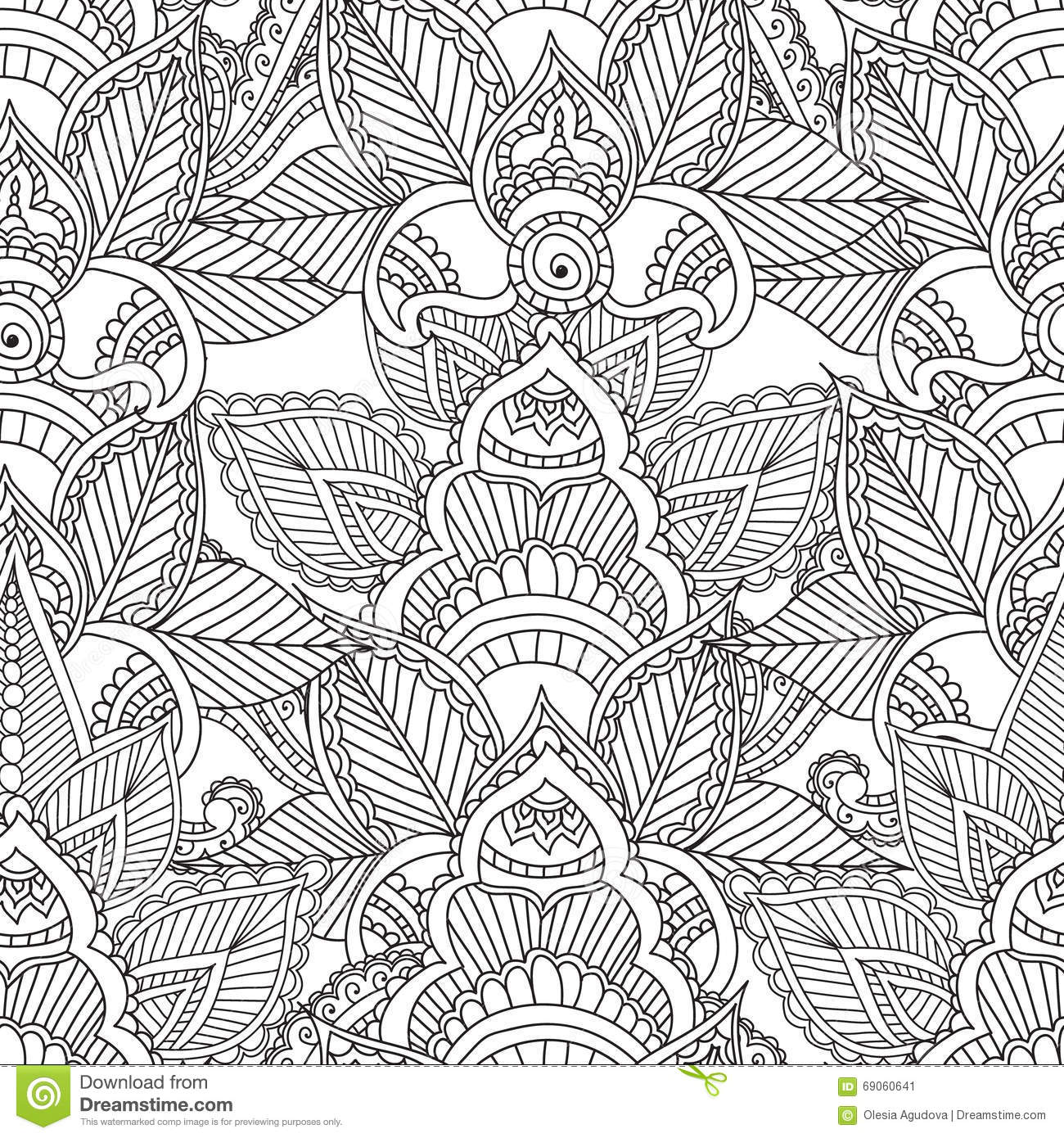 Coloring pages for adults seamles henna mehndi doodles abstract floral elements