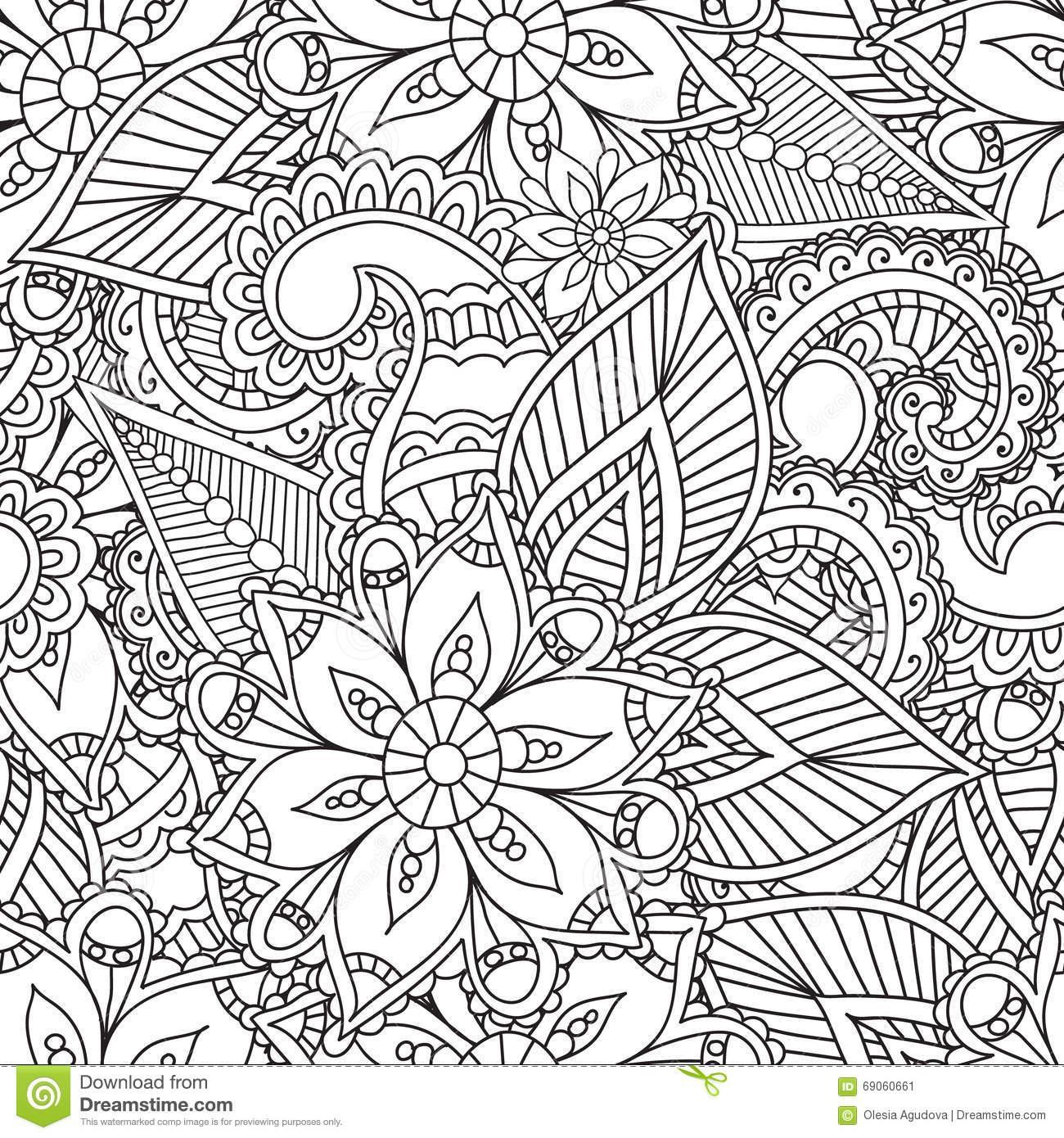 abstract coloring floral henna illustration pages - Abstract Coloring Pages Adults