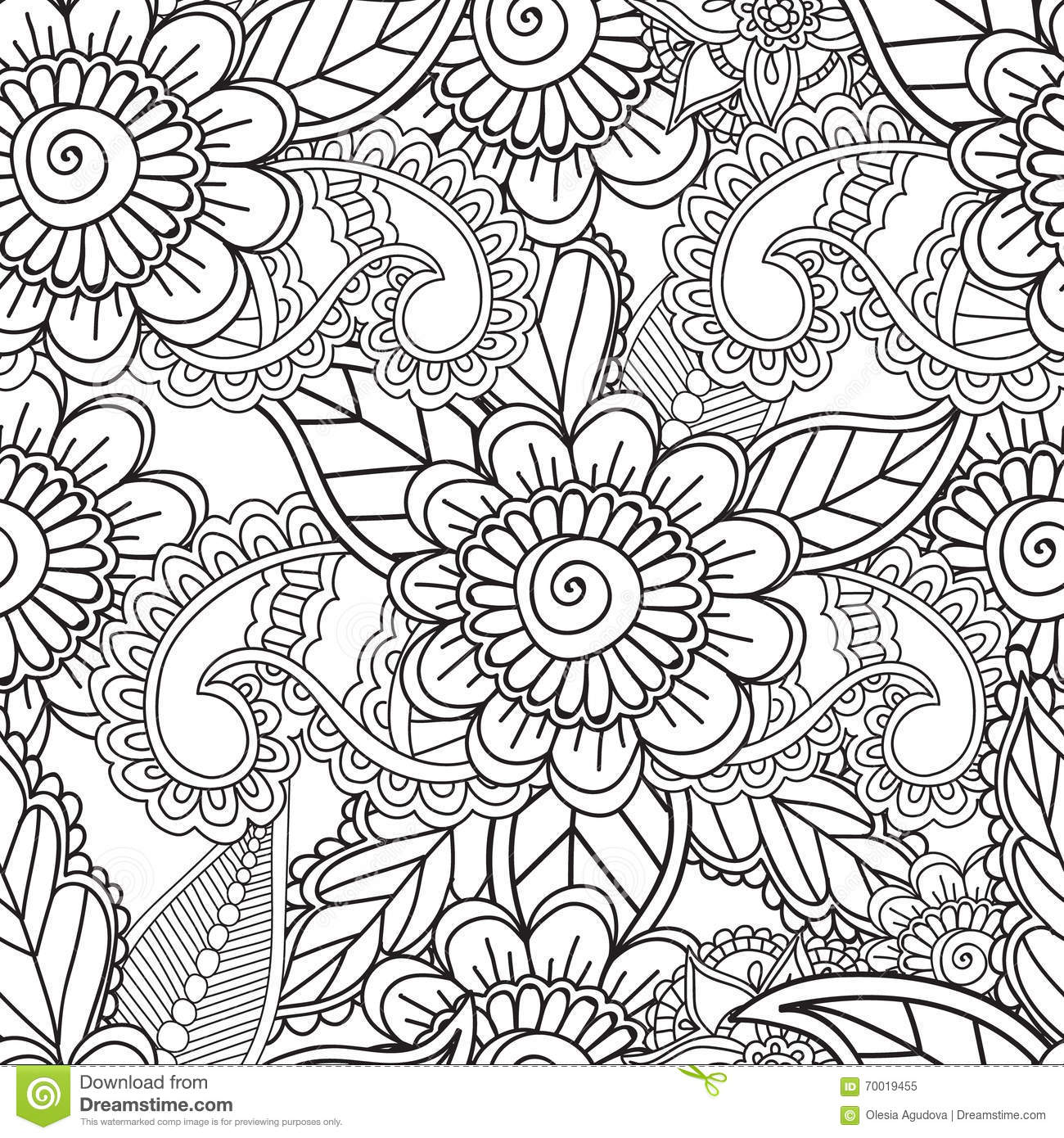 Coloring Pages For Adults. Seamles Henna Mehndi Doodles ...