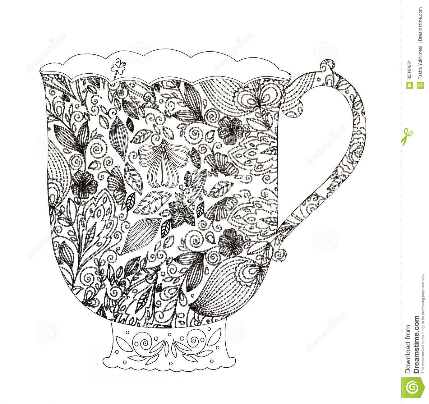 coloring pages for adults tea stock illustration image 85042681