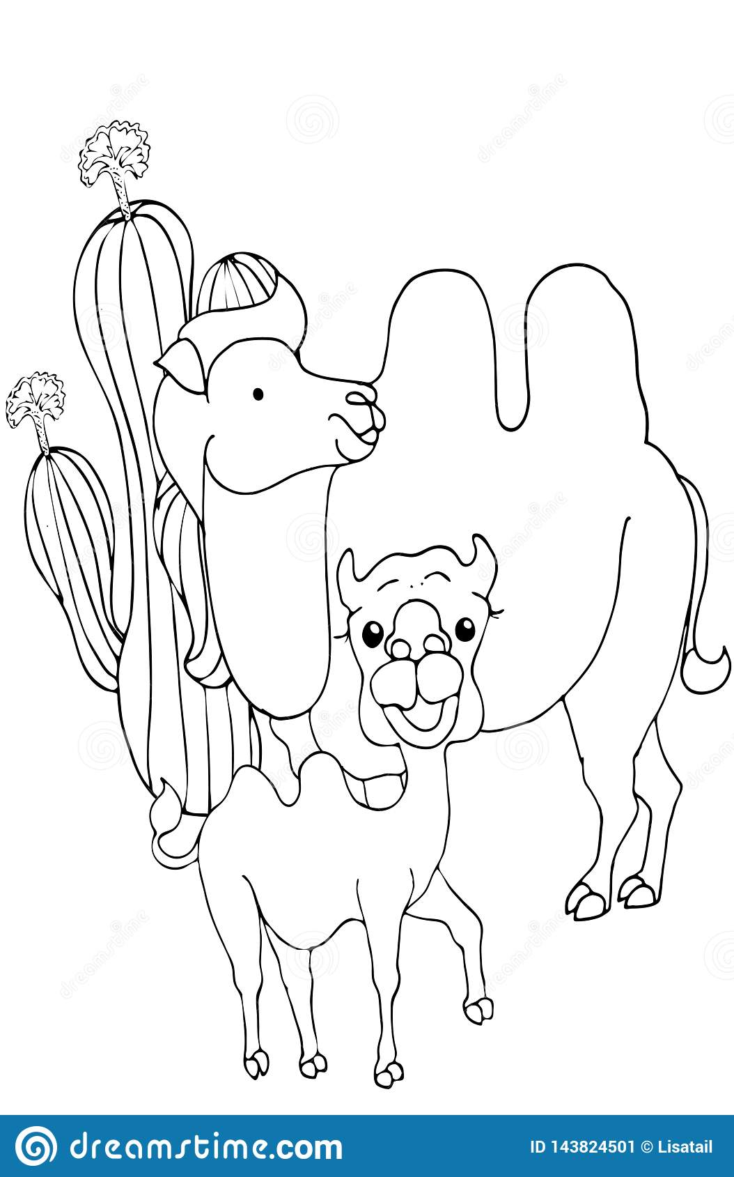 Coloring Pages. Animals. Cute Camel Stands And Smiles Stock Vector ...