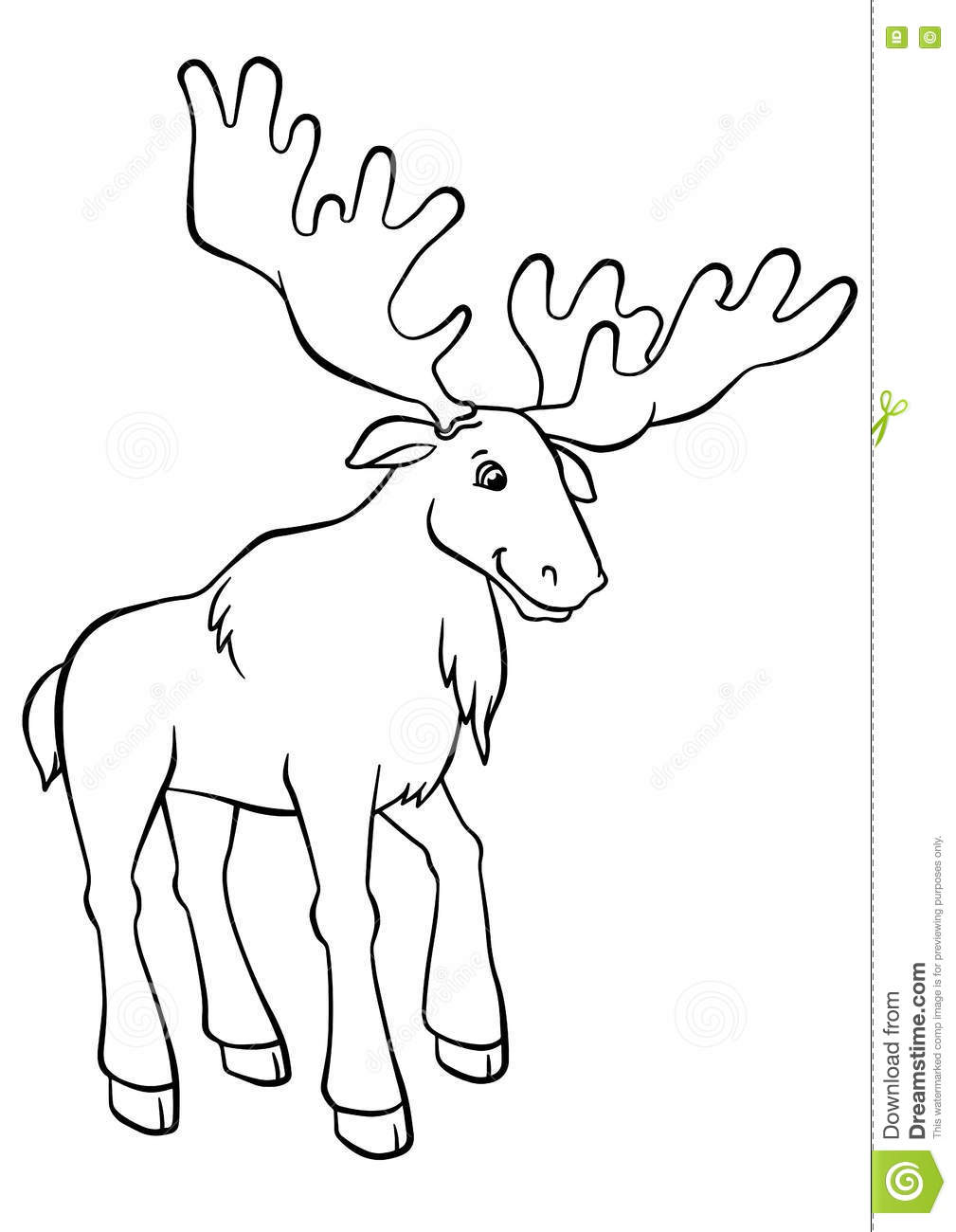 Coloring Pages Animals Cute Elk Stock Vector