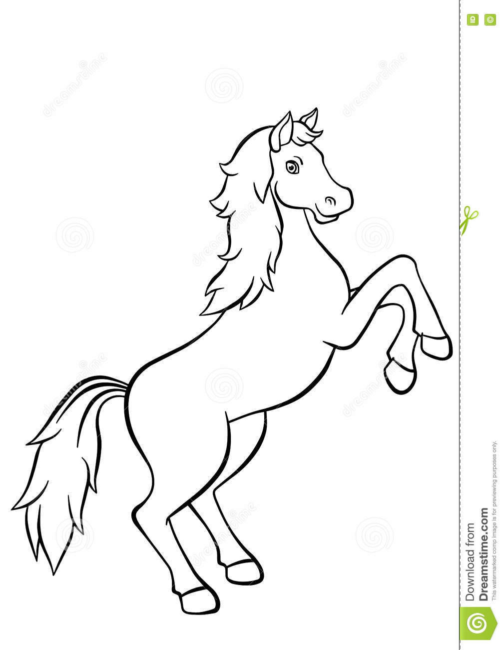 Coloring pages. Animals. Cute horse.