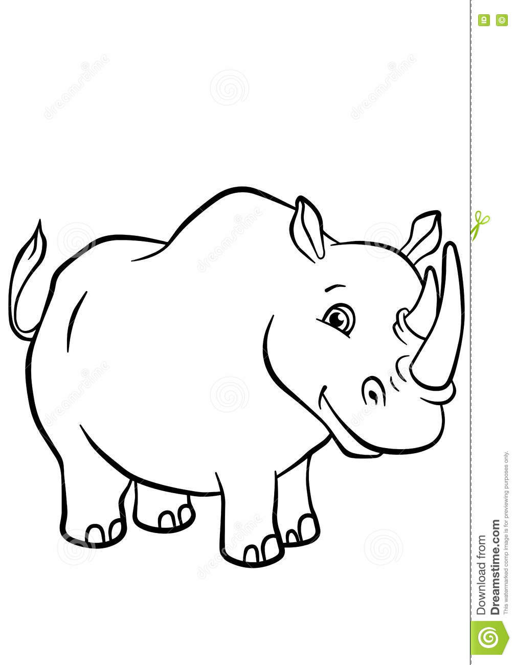 Coloring Pages. Animals. Cute Rhinoceros. Stock Vector