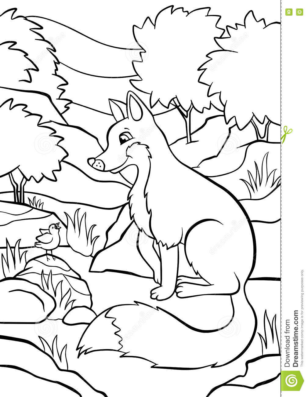stone fox coloring pages - animals singing at the riverbank cartoon vector