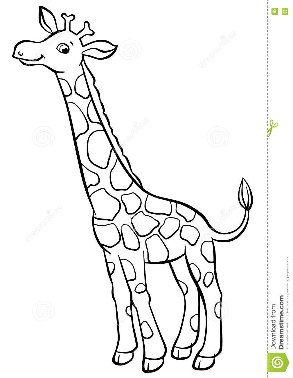 Coloring Pages. Animals. Little Cute Giraffe. Stock Vector ...