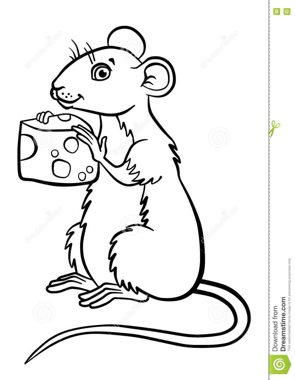 coloring pages animals little cute mouse stock vector image