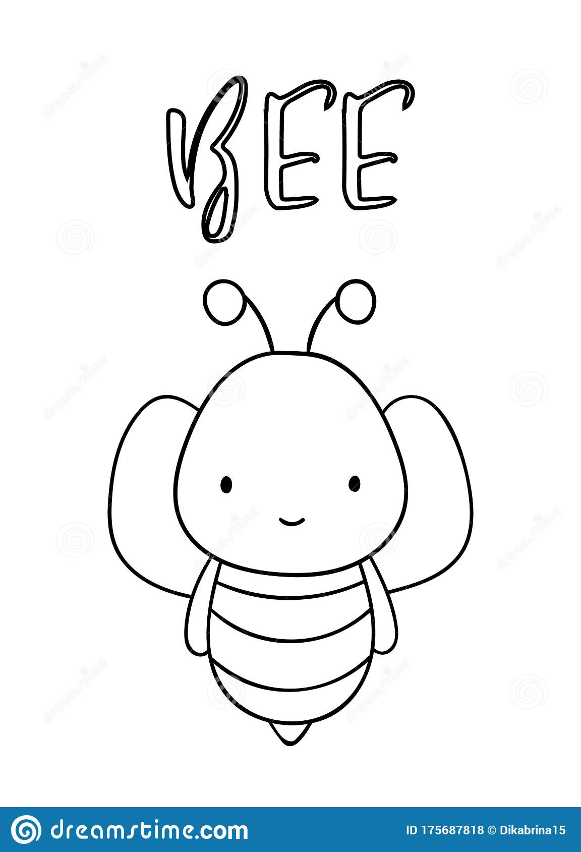 Coloring Pages Black And White Cute Hand Drawn Bee Doodle Lettering Bee Stock Vector Illustration Of Isolated Lettering 175687818