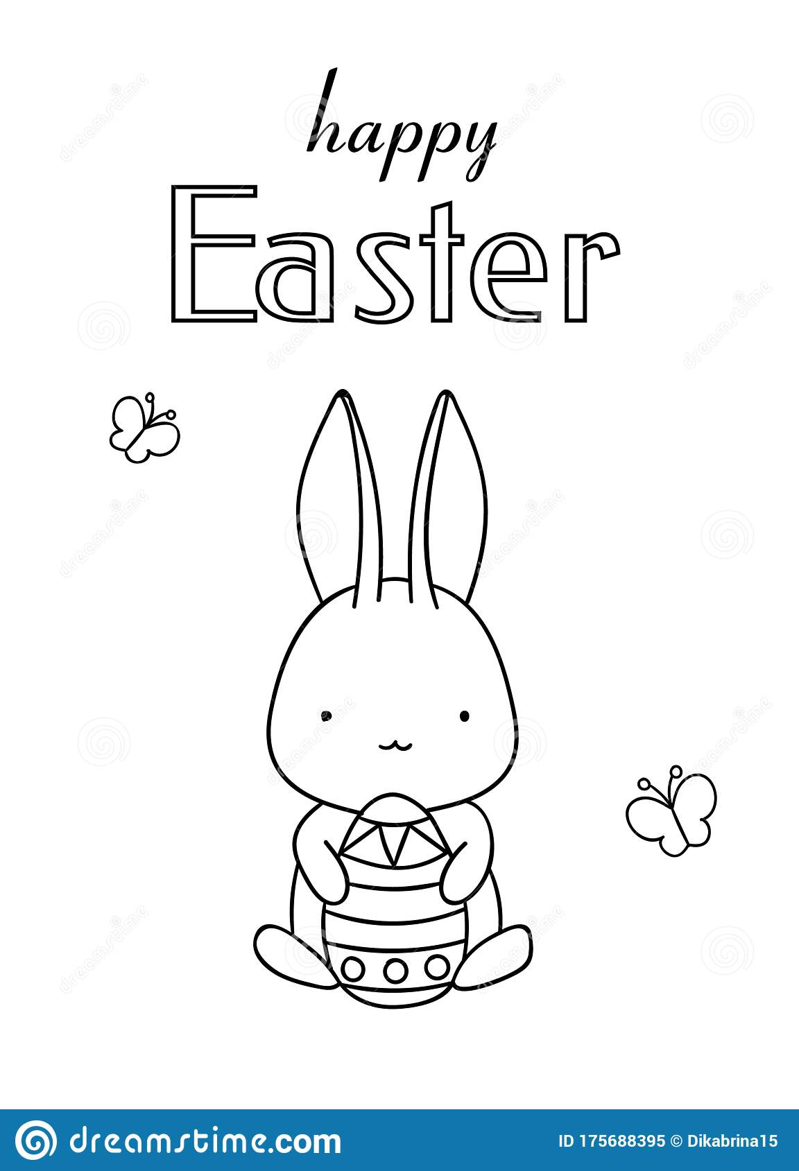 Coloring Pages, Black And White Cute Hand Drawn Bunny With ...