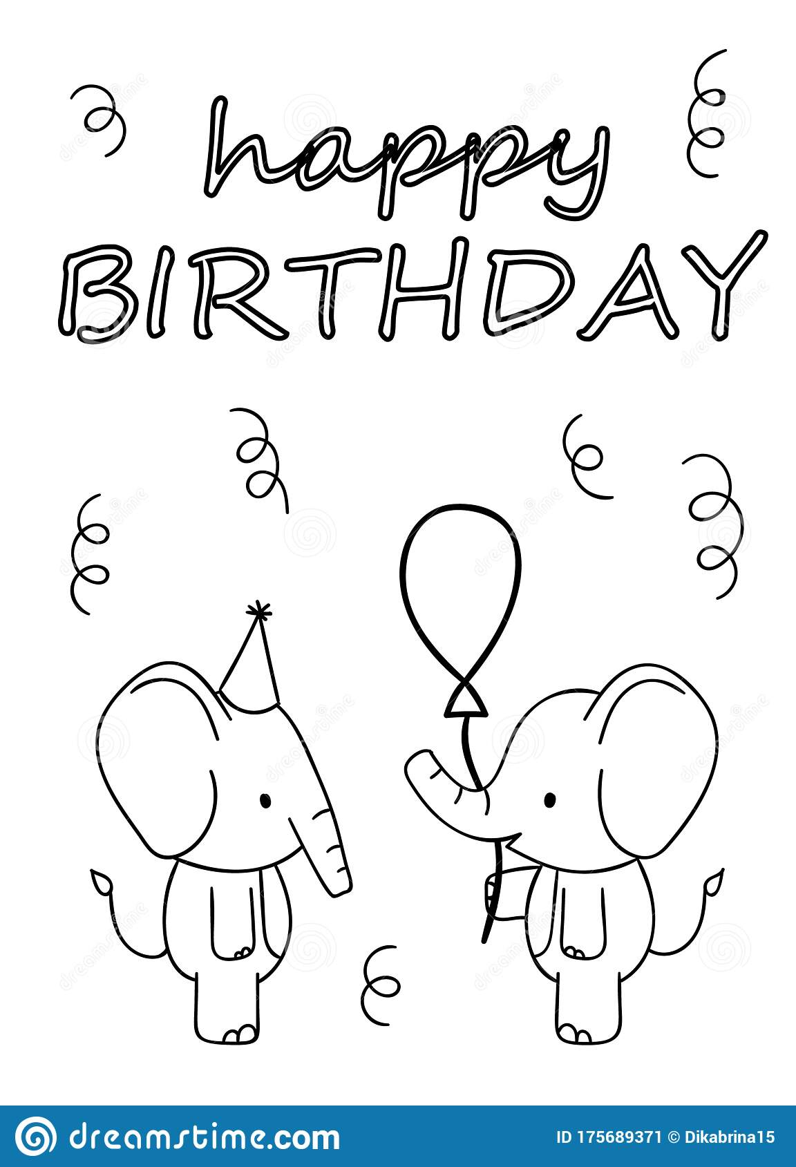Coloring Pages, Black And White Cute Hand Drawn Elephant ...