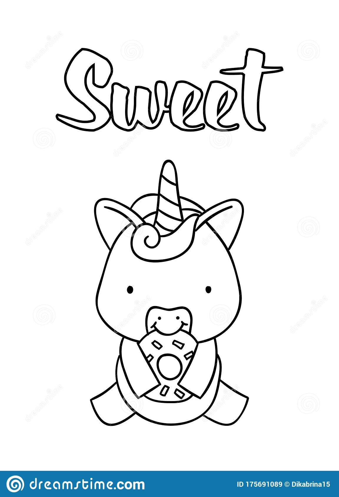 Coloring Pages Black And White Cute Hand Drawn Unicorn With Donut Doodles Lettering Sweet Stock Vector Illustration Of Isolated Outline 175691089
